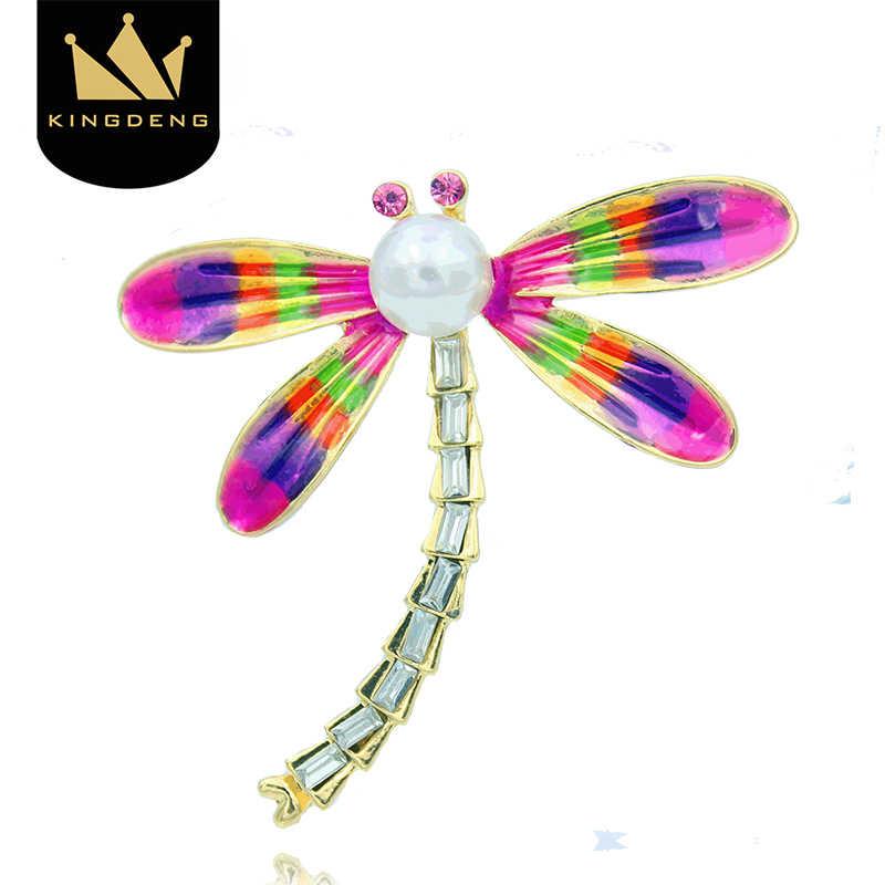 昆虫 KingDeng トンボのブローチブローチピンクエナメルピン女性のための合金子供ラペルピンかわいいジュエリー