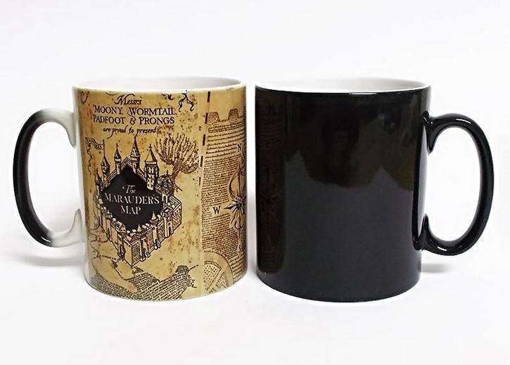 Regalos creativos tazas mágicas Harry bebida caliente taza cambiante Potter Marauders Map Mischief Managed vino taza de té