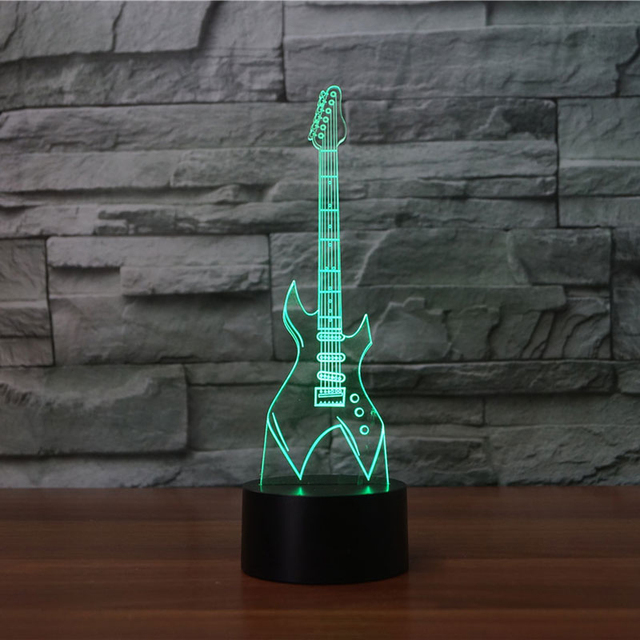 Electric Guitar 3D Table Lamp 7 Colors Changing LED Musical ...
