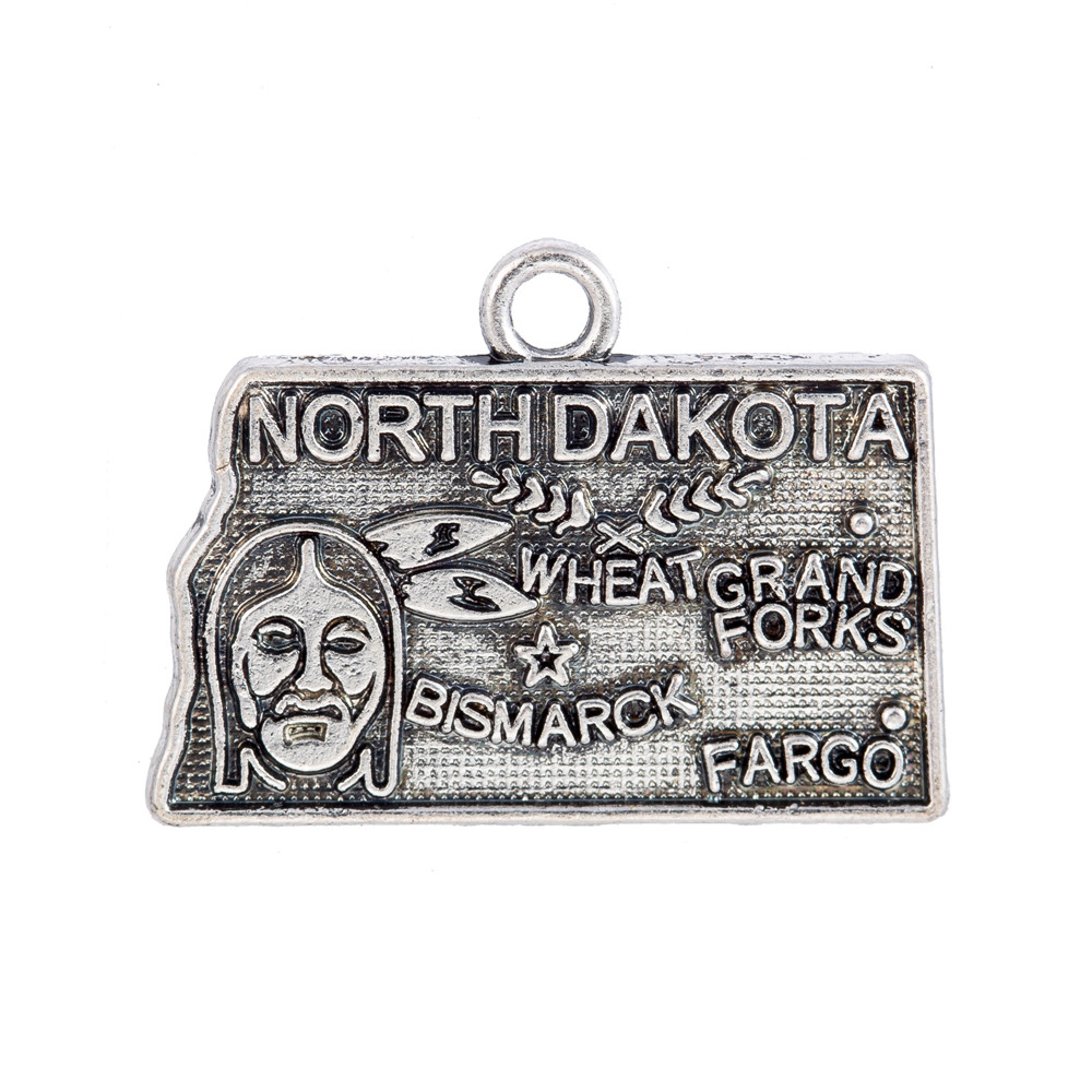 my shape North Dakota State Map New Design Alloy Charm Pendant Antique Silver Plated DIY Jewelry 21*15.5mm 60Pcs