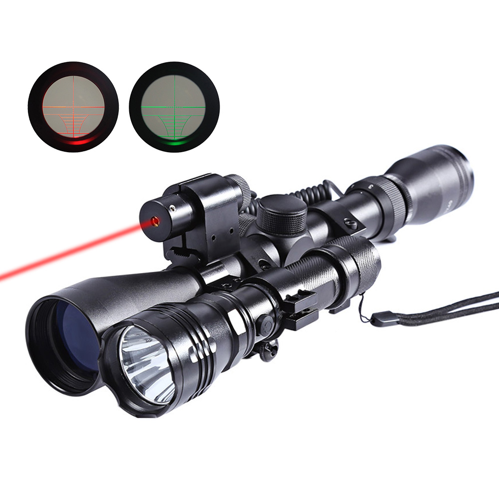 3-9x40 3 in 1 Scope 20mm Dovetail + Laser Sight + Flashlight Tactical Riflescope For Hunting Airsoft Rifle Gun Sinper