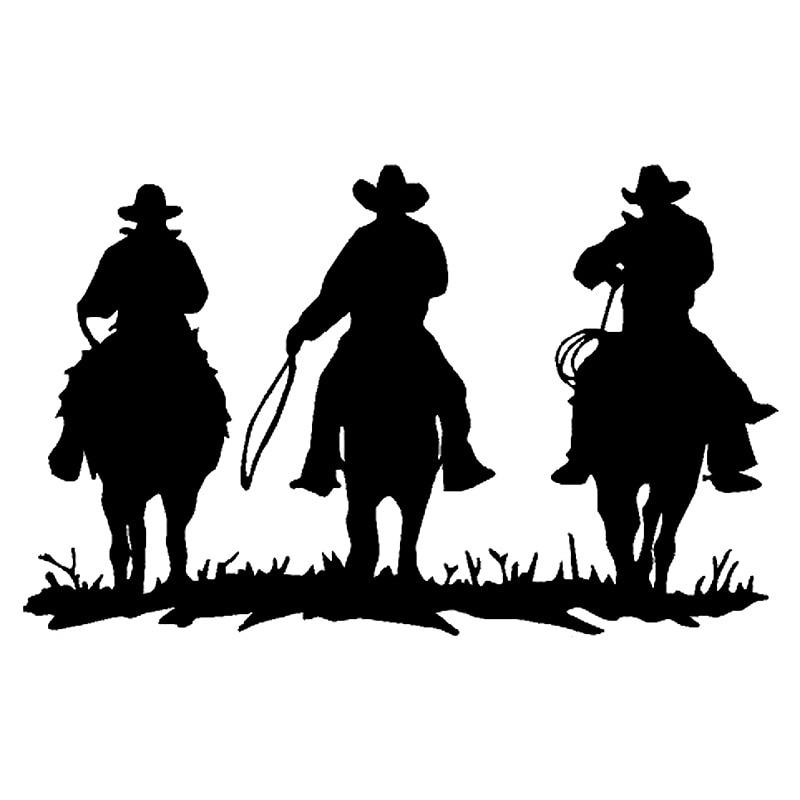 17.7cm*10.7cm Cowboys On Horse Fashion Vinyl Car-Styling Car Sticker Black/Silver S3-5293
