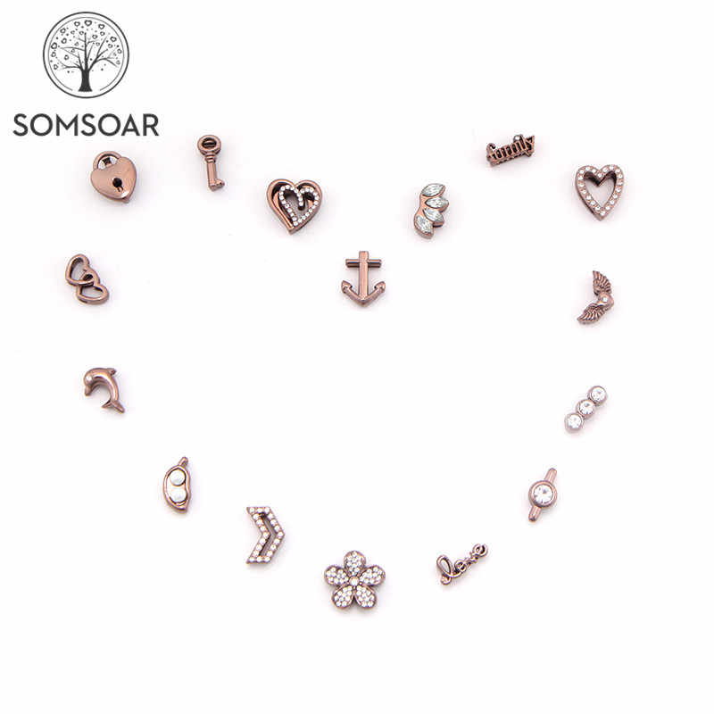 Somsoar Jewelry Coffee 10mm DIY Slide Charms can choose your Like fit for 10mm wide Mesh Bracelet Wholesale