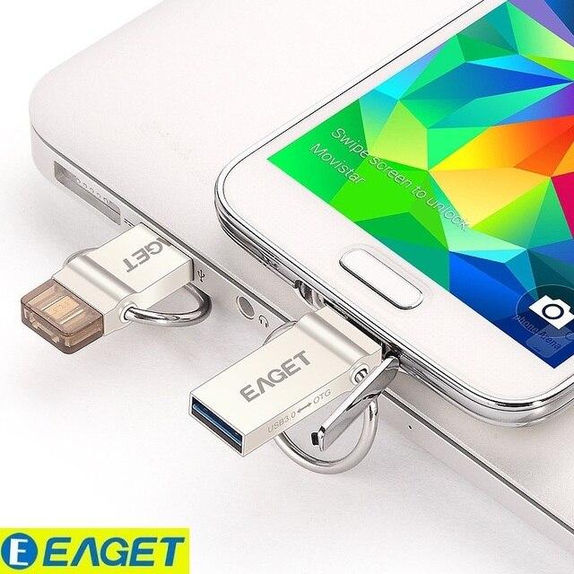 100% original! eaget v90 + otg usb 3.0 32 gb telefone inteligente tablet pc Drives Flash USB Pen Drive de Armazenamento Externo OTG Micro 64G memória