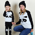 Mother and Daughter Clothes Panda Knitted Sweater for Girls Boys Women 2017 Mom and Baby Matching Pullover Sweater Family Look