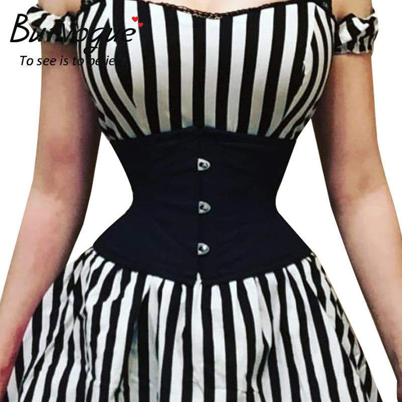 Burvogue Women Waist Trainer Corsets Slimming Shaper Belt Short Torso Satin Underbust Corset Sexy Lace Up Bustiers & Corsets