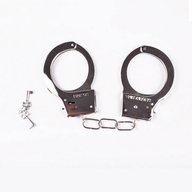 День Дурака ролевые игры Серебряные Металлические наручники с ключами полицейская Роль Косплей инструмент полицейская игрушка для детей мальчик девочка хитрые игрушки