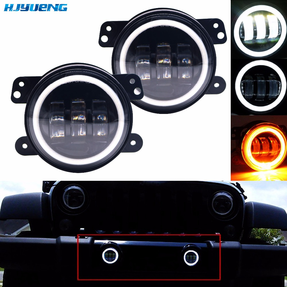 HJYUENG 30W 2PCS DOT 4Inch Round Wrangler Led Fog Lights 6000K White Halo Ring DRL Off Road Fog Lamps For Jeep Wrangler JK TJ LJ 4 inch 60w led fog lights white drl blue turn signal halo ring for jeep wrangler 97 17 jk tj lj off road fog lamps