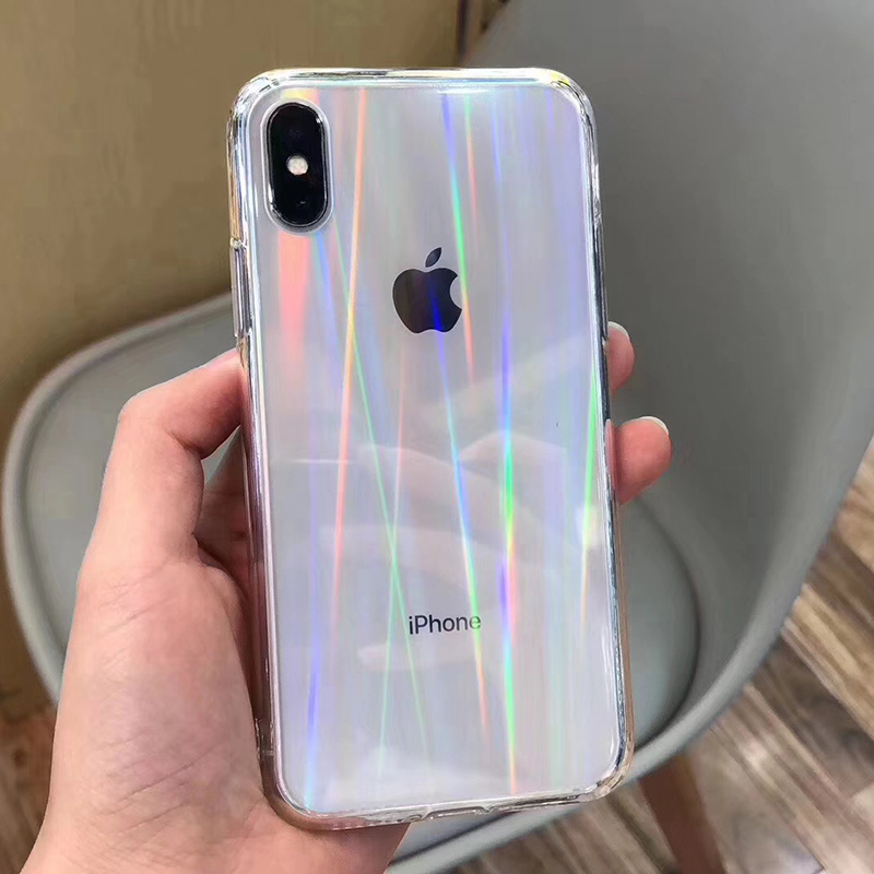 Fashion Gradient Rainbow Laser Case For IPhone 11 Pro XS Max Xr Transparent Hard Capa Fundas For IPhone 8 7 6S Plus Acrylic Case