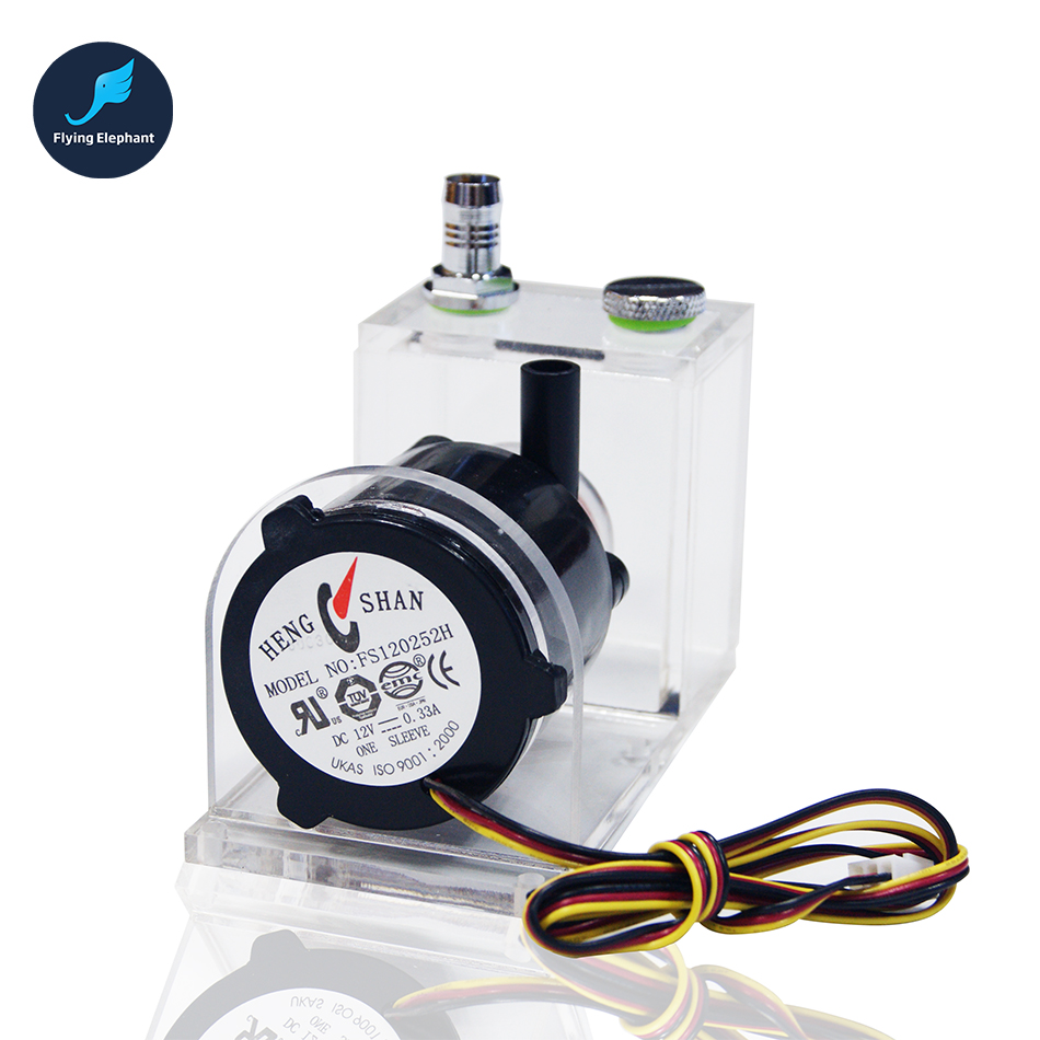 12V DC Water Cooling Pump + Water Tank 1M 4W Submersible Fountain, Water Cooling Circulating free shipping new 220v ylj 500 500l h 8w submersible water pump aquarium fountain fish tank power saving copper wire