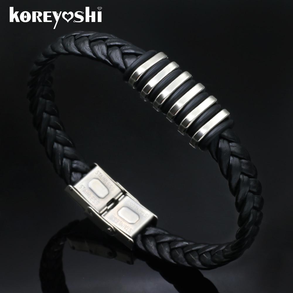 2016 Black Genuine Leather Bracelet Men s