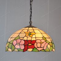 European style 16 inch butterfly flower hotel restaurant kitchen chandelier Tiffany glass lamps decorated American Pastoral