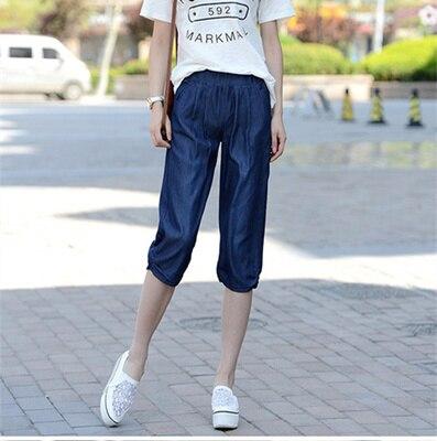 2017 Новый Летний Стиль джинсы женщин Плюс размер женщин Теленка длина Свободно случайные кружева шаровары
