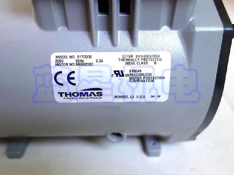 Mini Vacuum Pump Thomas AC Oil Free Vacuum Pump 617CD32 manka care 110v 220v ac 50l min 165w small electric piston vacuum pump silent pumps oil less oil free compressing pump