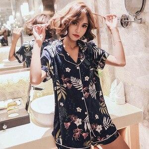 Image 3 - 2019 Summer New Ladies Pajamas Set Comfort Cotton Satin Floral Navy Turn down Collar Cool Sleepwear Female Leisure Wear Homewear