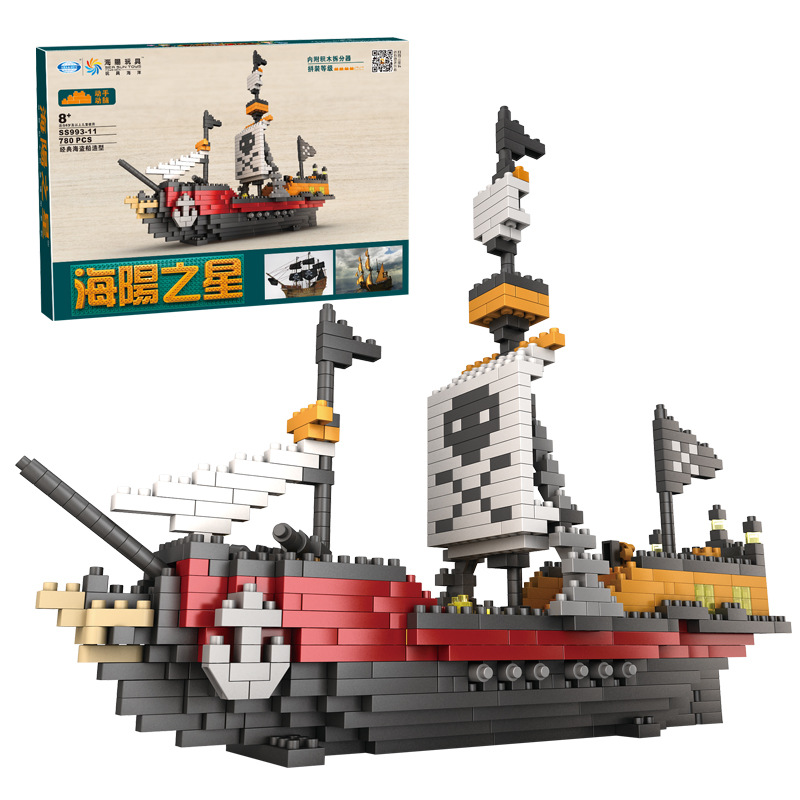 EFHH Pirate Boat Ship Assembled Building Block DIY Educational Toys lepin 22001 pirate ship imperial warships model building block briks toys gift 1717pcs compatible legoed 10210
