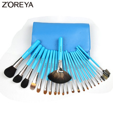 ZOREYA Brand 22pcs Professional Cosmetic Brush set High Quality Makeup Set With Case Nature bristle Blue color make up brushes