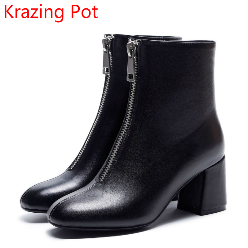 New Arrival Superstar Genuine Leather Thick Heel Round Toe High Heels Zipper Chelsea Boots Winter Shoes  Fashion Ankle Boots L82 winter women ankle boots thick high heels round toe genuine leather short black zip shoes martin chelsea boots 2016 new design