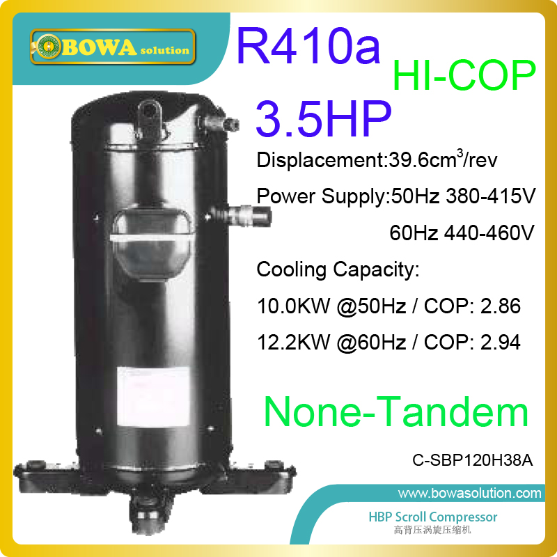 3.5HP R410a high coefficiency scroll compressor are used in 34000BTU commerce air condtioners or air dryer machines r410a compressor 1250w cooling capacity suitable for dehumidifiermachine or air dryer machine