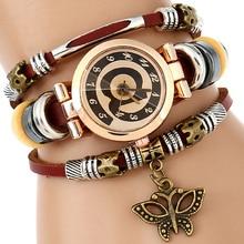 NEW Genuine Leather Watch Women Triple Bracelet Wristwatch @ Charm Fashion Reloj Para Dama