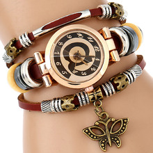Gnova Platino Superior Cuero Genuino Mujeres Del Reloj Triple Pulsera Encanto de La Mariposa de Moda del Reloj de cuarzo reloj de Pulsera @ A552