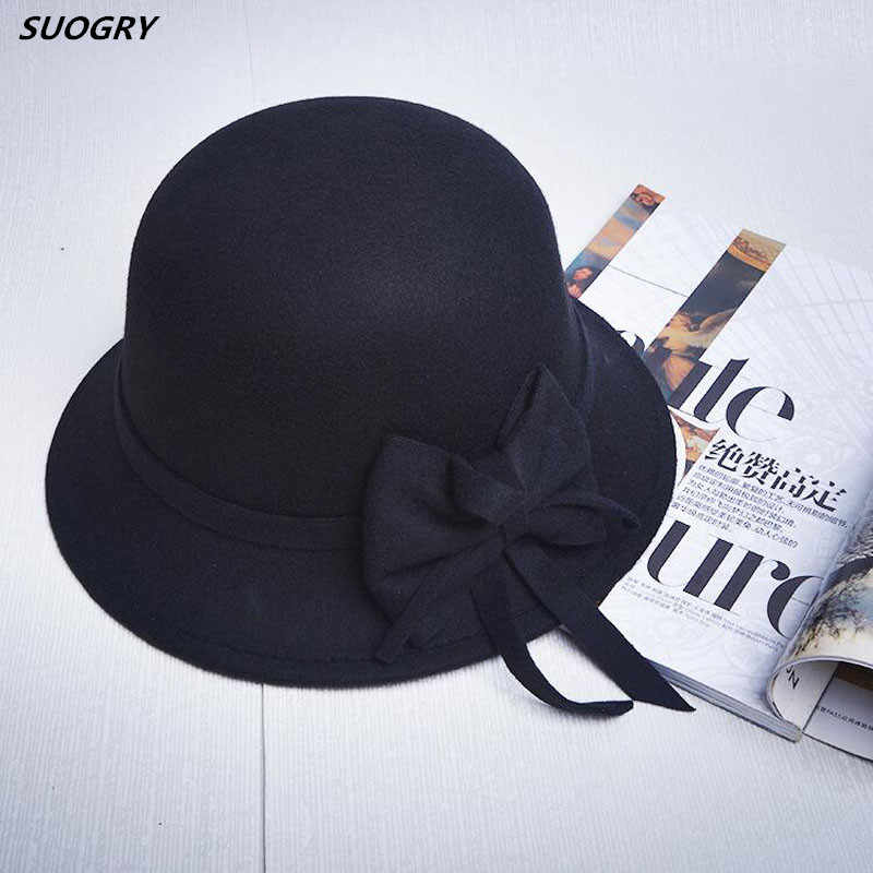 471db09b9d1 Elegant Women Round Bowler Cap Imitation Wool Bowknot Fedoras Cotton Church  Cloche Bucket Hat Vintage Brim