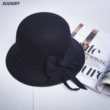 d6846baddcf9ab Elegant Women Round Bowler Cap Imitation Wool Bowknot Fedoras Cotton Church  Cloche Bucket Hat Vintage Brim