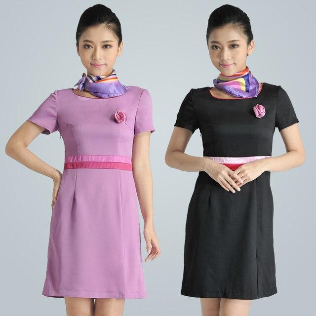 Короткий рукав косметолог одежда парикмахер рабочий униформа technicalness фиолетовый и черный платье