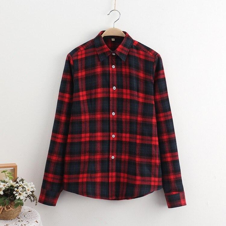 2018 Fashion Plaid Shirt Female College Style Women's Blouses Long Sleeve Flannel Shirt Plus Size Casual Blouses Shirts M-5XL 37