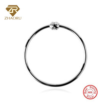 Zhaoru Authentique 925 Sterling Silver Bangle Crystal Bracelet for Charms Fashion Bangle Fine Jewelry for Women Gift ztung lvs1 for us trendy teardrop real zircon bracelet bangle solid 925 sterling silver gemstone fine jewelry bangle best gift
