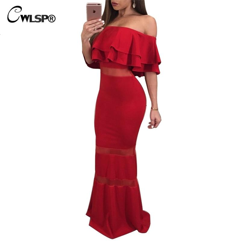 CWLSP Off Shoulder Vintage Autumn Long Dress For Women Sheath Ruffles Slash Neck Maxi Dress Mermaid Vestido De Festa QZ2319