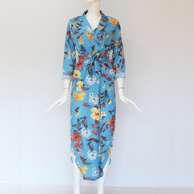 Women Long Dress Floral Print Summer Maxi Chiffon Beach Dress Elegant Party Dress Long Sleeve Office Shirt Dress Vestidos Longo 5