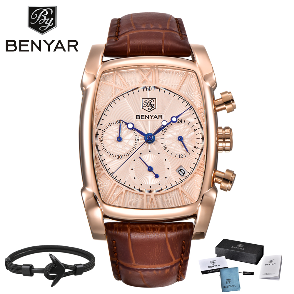 2018 BENYAR Brand Watches Men Waterproof Leather Gold Quartz Watch Male Clock Relogio Masculino erkek kol saati zegarek meski relogio masculino men business watch leather wristwatch rose gold quartz watches mens 2018 ruimas classic clock erkek kol saati