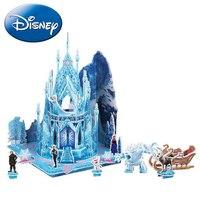 Disney Children 3D DIY Puzzle Frozen Elsa Anna Castle Model Cartoon Assembling Paper Toy Kid Learning Construction Jigsaw Gift