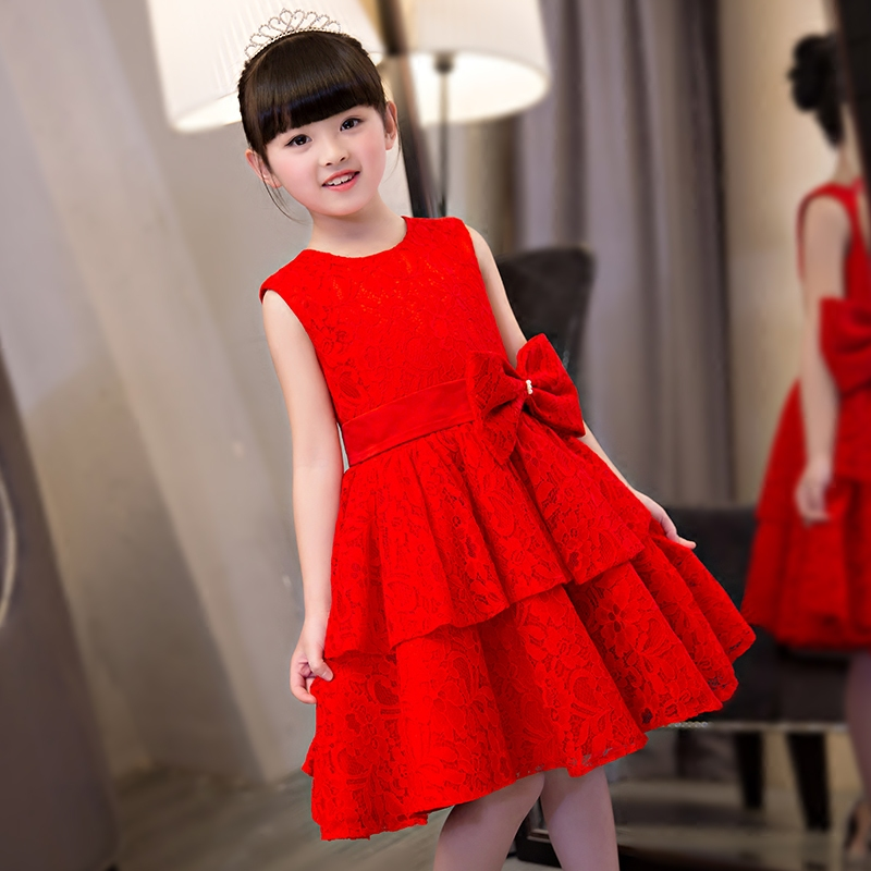 New 2017 Sweet Luxury baby girls red color lace party dress full of lace baby party dress baby wear kids children baby clothing ems dhl free 2018 new lace tulle baby girls kids sleeveless party dress holiday children summer style baby dress valentine