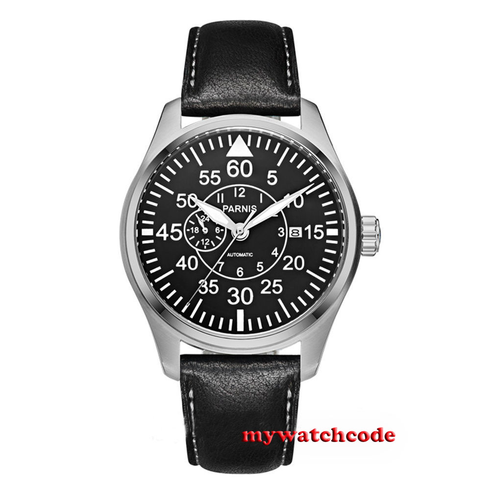 44mm Parnis black dial Sapphire Glass date window miyota Automatic mens Watch цена и фото