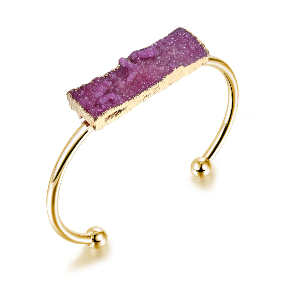 Omydrusy 1PC Charms Druzy Hand Cuff Bangle Natural Stone Drusy Open End Bracelets Fashion Gold Color Hand Jewelry For Women DB5