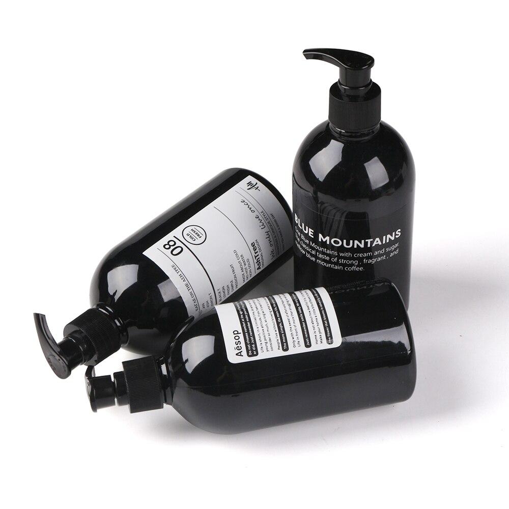 Black Scandinavian Bath Shampoo Storage Bottle Nordic Bottle Liquid Lotion Travel Storage Bottle Organizer Decor 500 ml in Storage Bottles Jars from Home Garden
