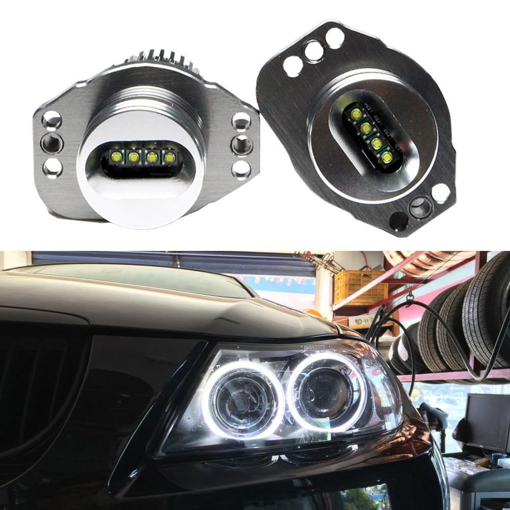 2x CREE LED Halo Angel Eyes Marker Canbus 12W Xenon Blanc 7000K E90 E91