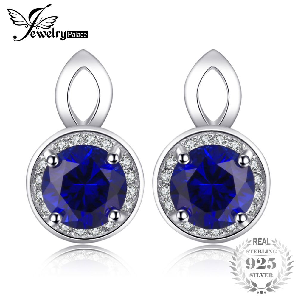 цены JewelryPalace Round Cut 4.8ct Created Blue Sapphires Halo Drop Earrings Solid 925 Sterling Silver 2016 New Fashion Jewelry Women