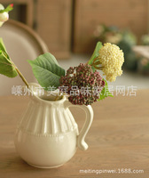 American country home decorations table setting white ceramic vase embossed flower pot milk quality foreign trade