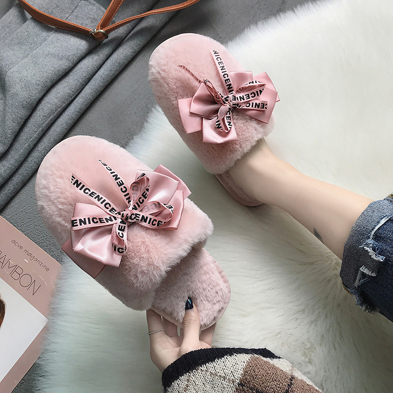 COOTELILI Flats Slides Shoes Slippers Women Faux-Fur Closed-Toe Female Winter Woman On