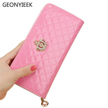 women quilted long wallet crown purse women Wallet With Coin Bag Crown clutch bag carteras female Women Wallets