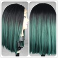 2016 Hot Sale Heat Resistant Wigs Ombre Black to Green Synthetic Lace Front Bob for Black Women