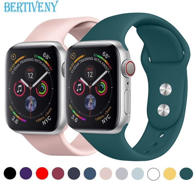43e53587ab2 Pulseira de silicone para a Apple Watch 38mm 42mm 40mm 44mm Substituição  Sport Strap pulseira de