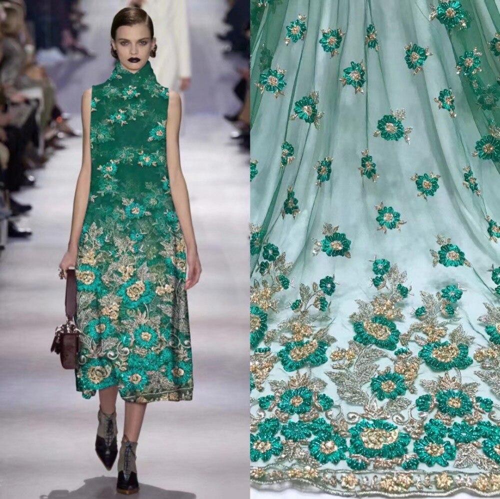 Tecido de renda francesa 5yds/pce dhl verde tubo frisado tecidos mulheres lindo luxo brilhante vestidos de festa evento 2019 de alta qualidade novo - 6