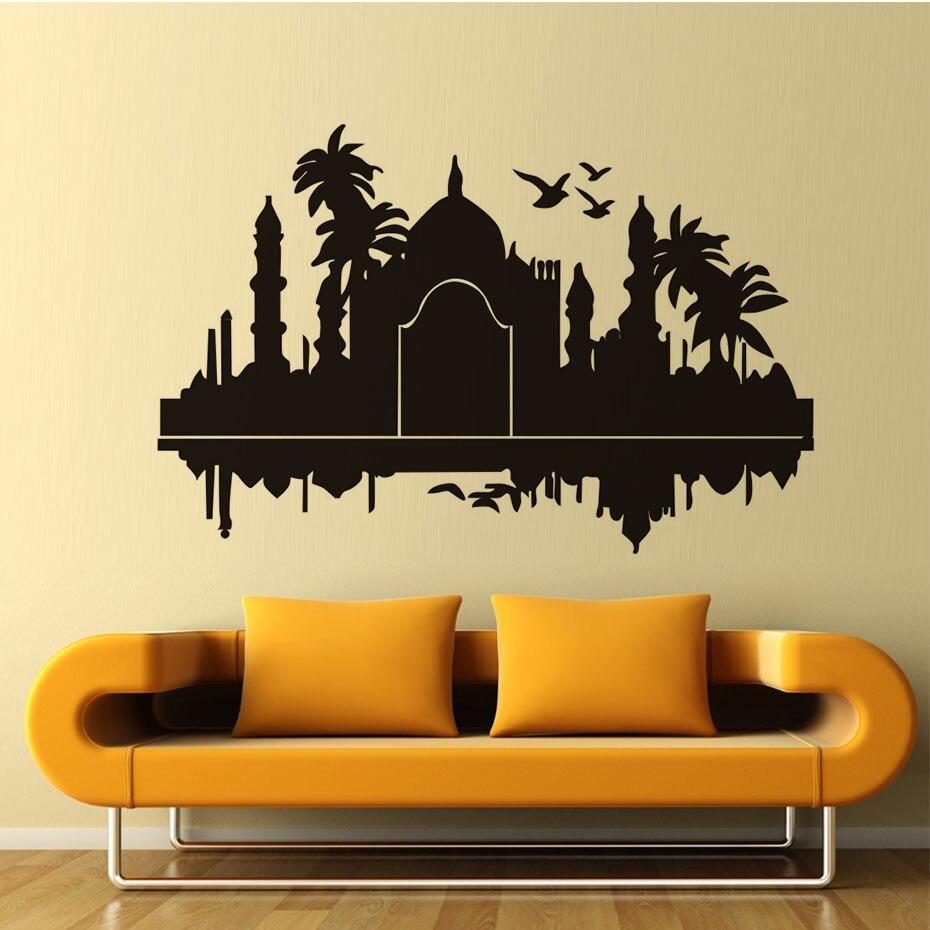 Taj Mahal India Wall Stickers Palms Birds Silhouette Waterproof Art ...
