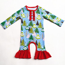 New Arrived Infant clothing Newborn Christmas boutique wholesale baby long sleeve clothes romper bodysuit with Christmas Tree