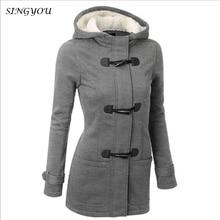 SINGYOU Women Trench Coat 2017 Autumn Winter New Horn Button Ladies Overcoat  Female Long Hooded Coat Casual Slim Zipper Outwear