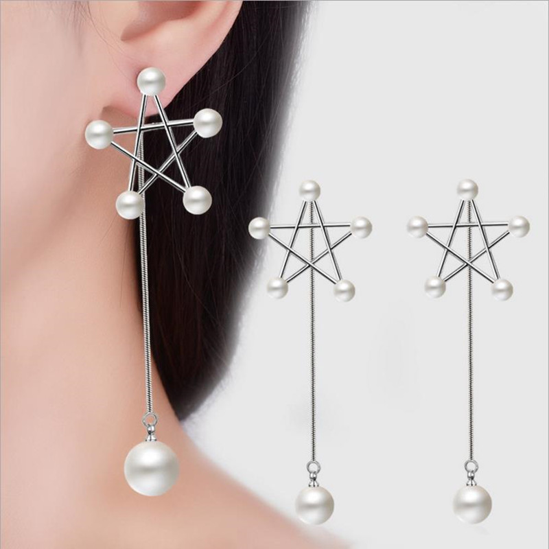 Everoyal Charm Star Pearl Silver Earrings For Women Jewelry Top Quality 925 Girls Lady Accessories Female Bijou